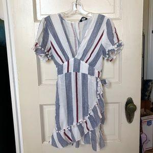 Striped dress with deep v-neck